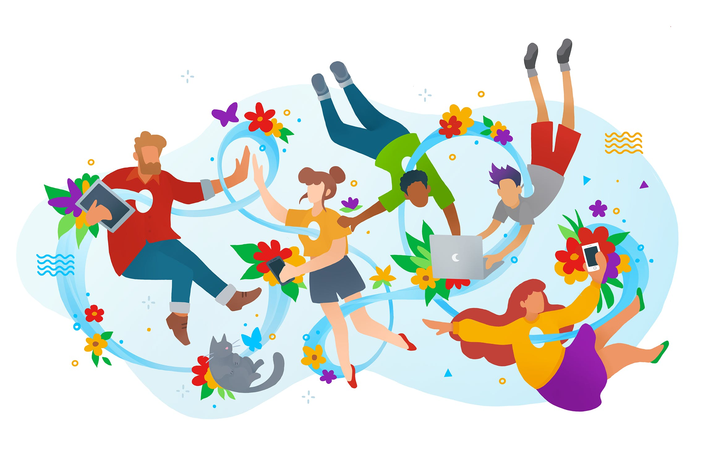 A colourful illustration of people holding different electronic devices surrounded by flowers.