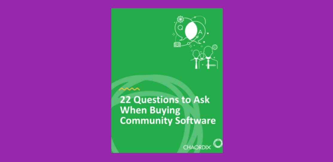 A digital image of the 22 Questions to Ask When Buying Community Software ebook cover