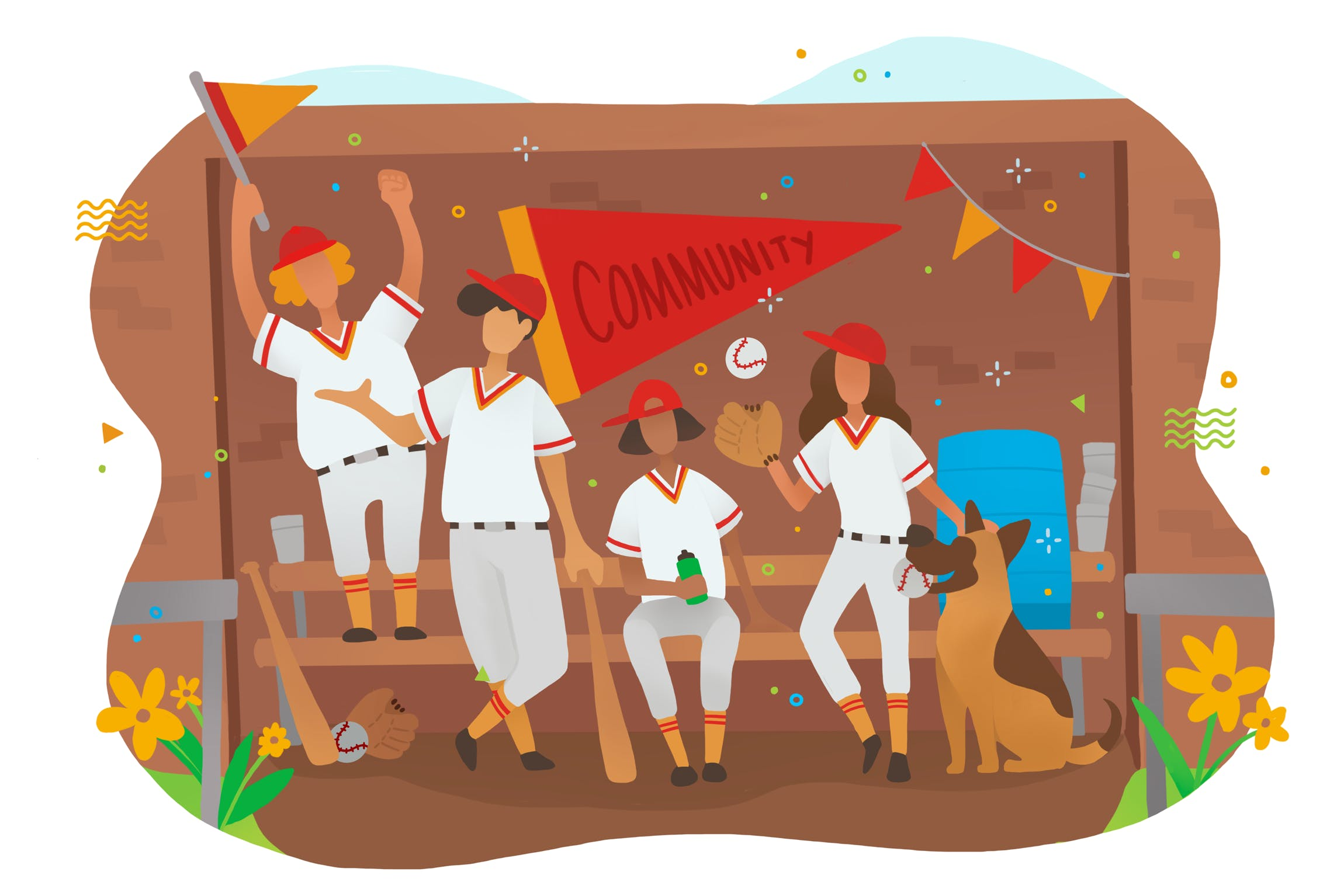 Colourful cartoon illustration of a baseball team sitting and standing on their bench decorated with flags.