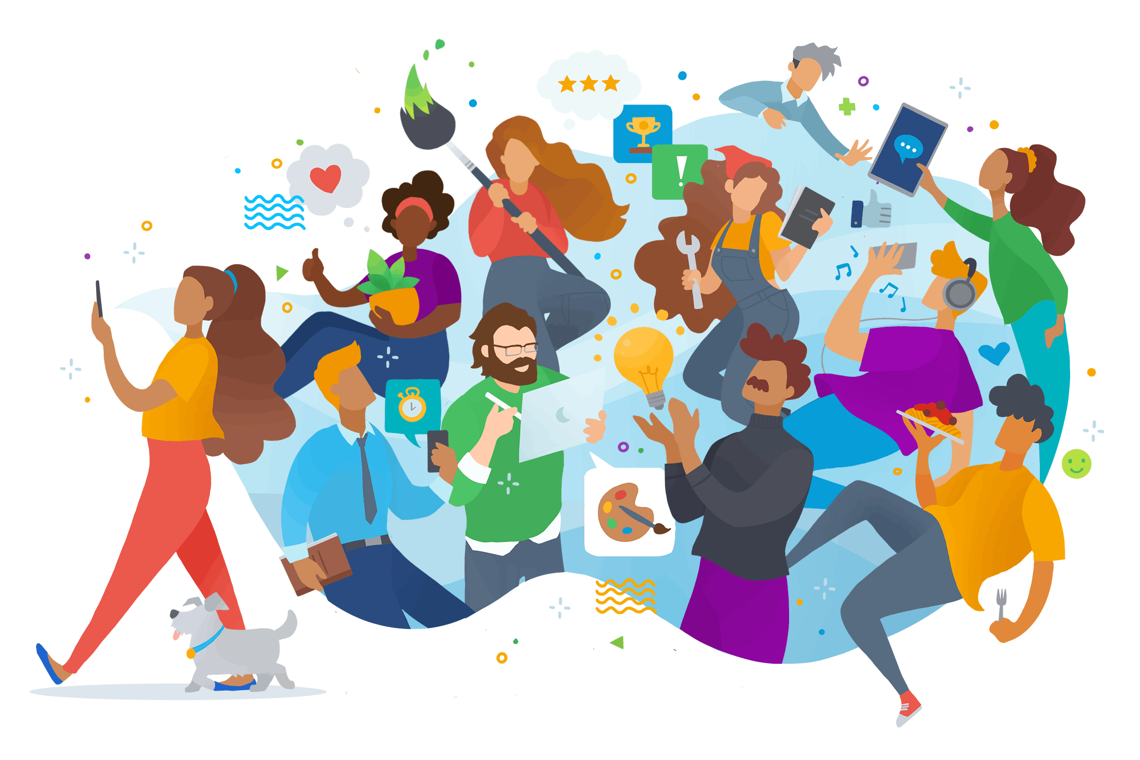 Vector art of a creative community, all springing out of a smartphone while a woman walks her dog