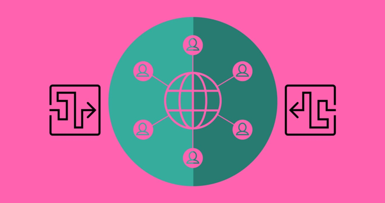 Pink and green illustration of a globe surrounded by people connecting to the globe with lines.