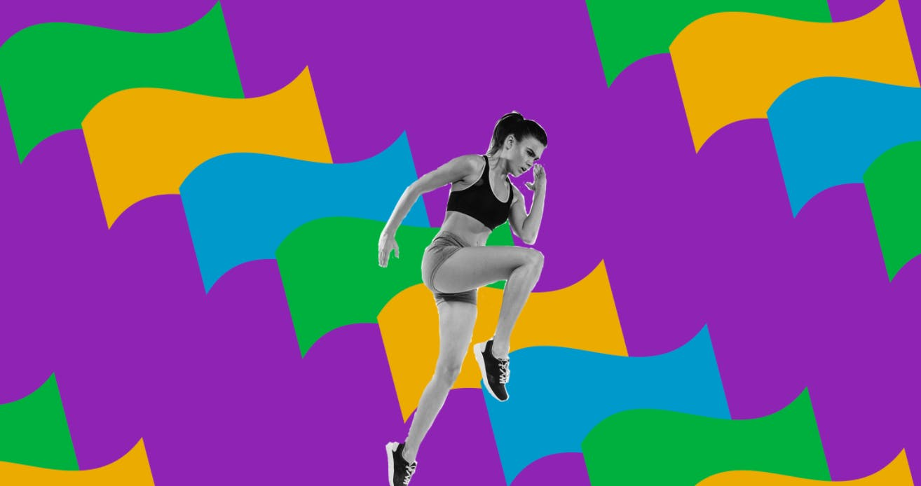 Black and white images of a woman running placed over a colourful