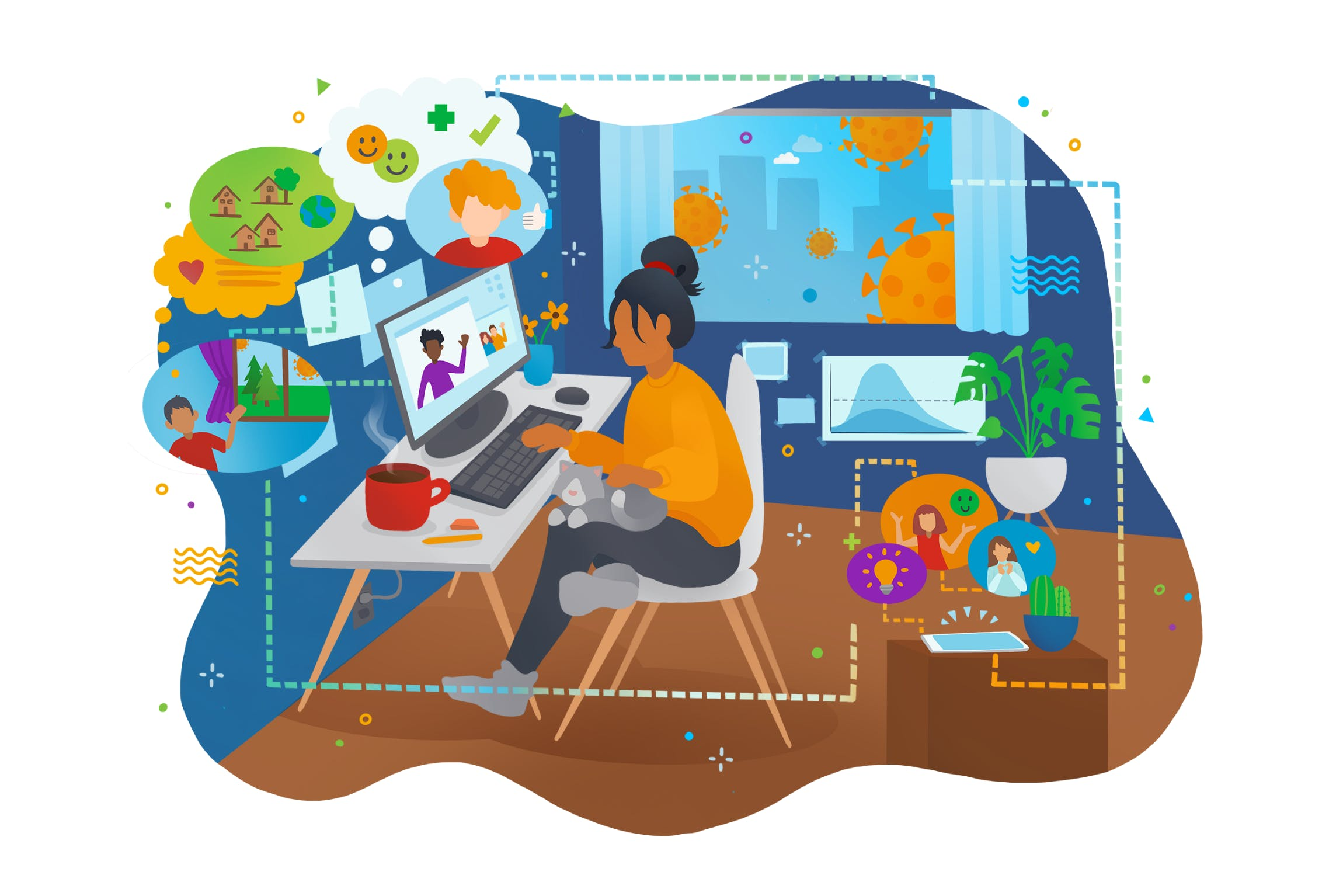 Colourful cartoon illustration of a woman working from home at her desk with a grey cat on her lap.