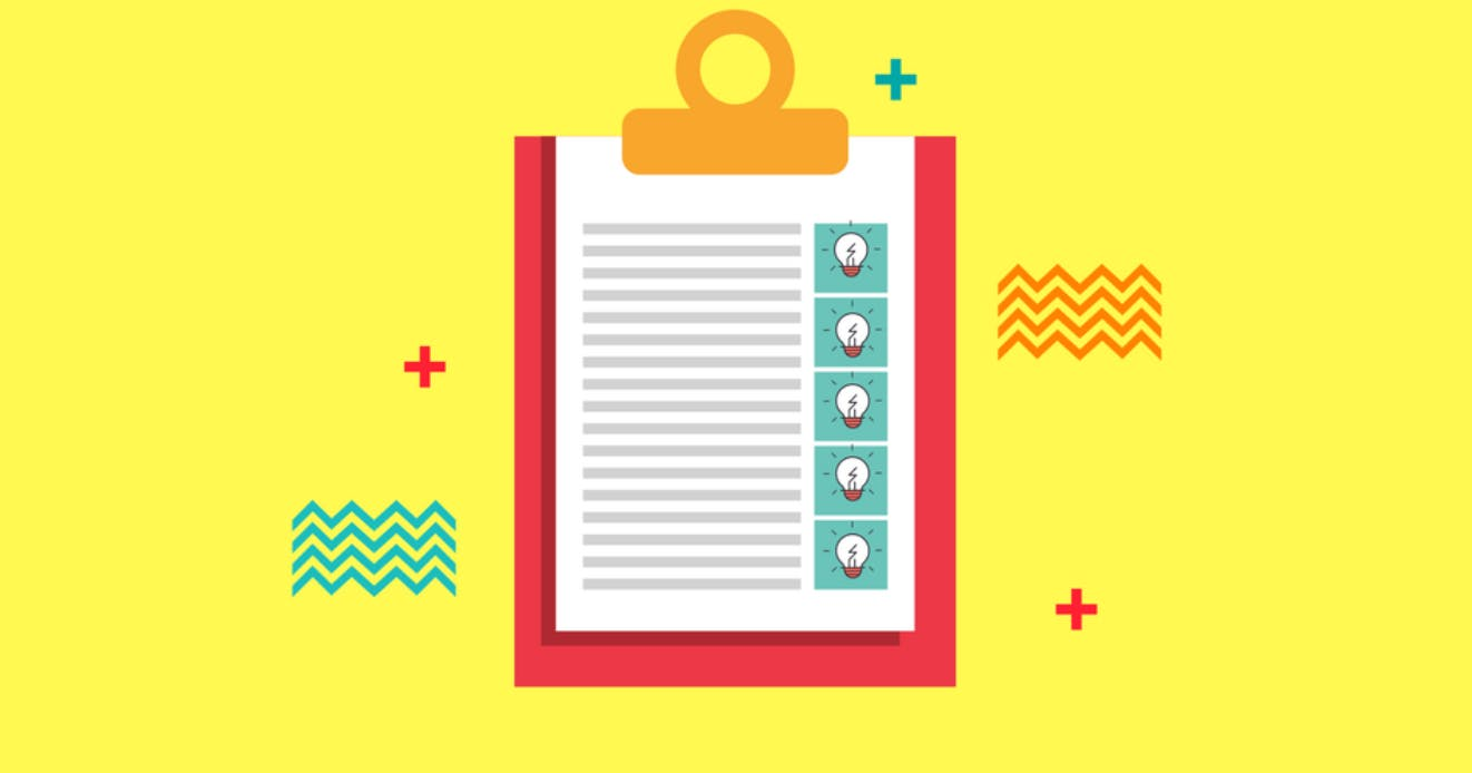 Red cartoon clipboard illustration overlays vibrantly yellow background.