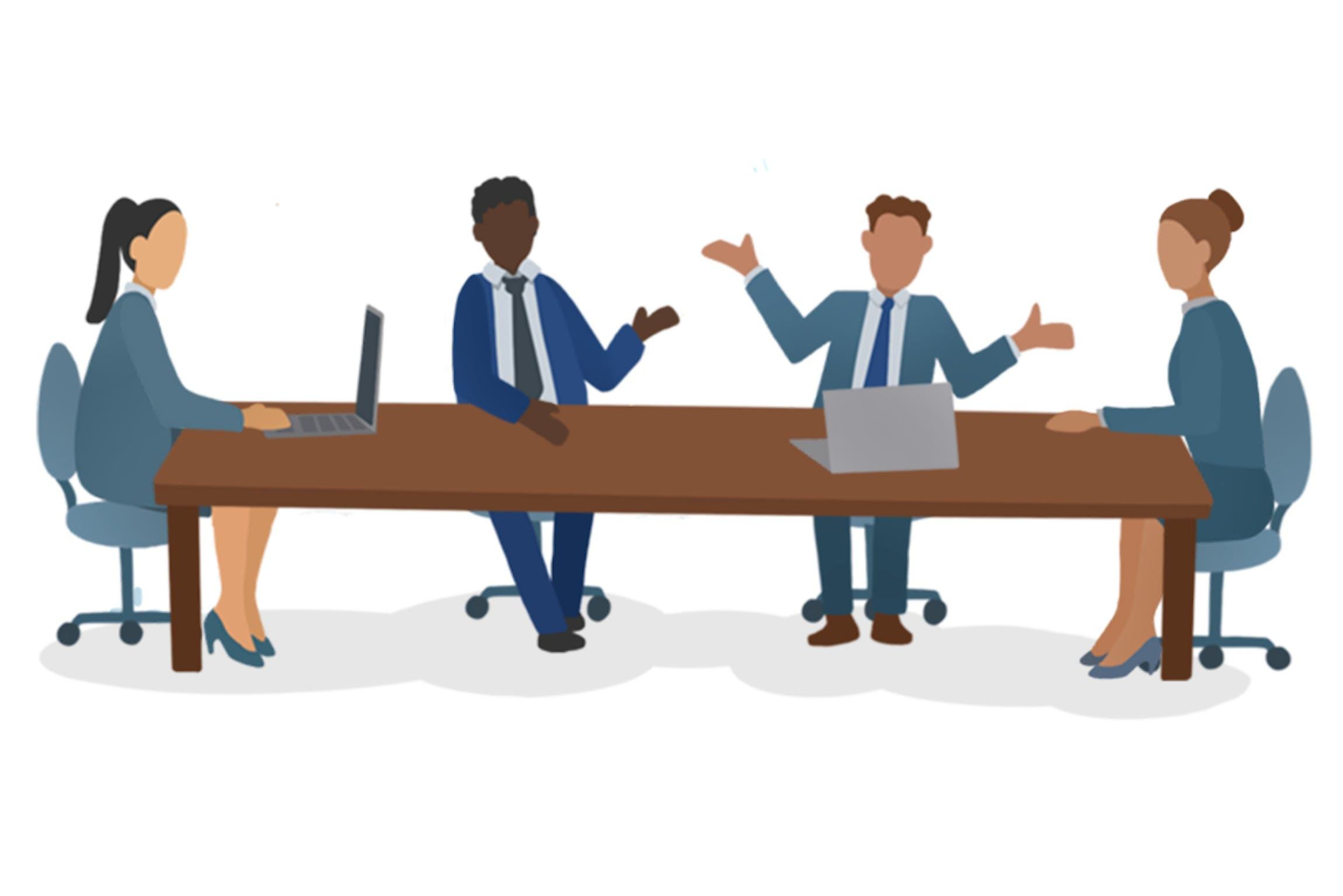 Cartoon illustration of professional people sitting at a boardroom table.