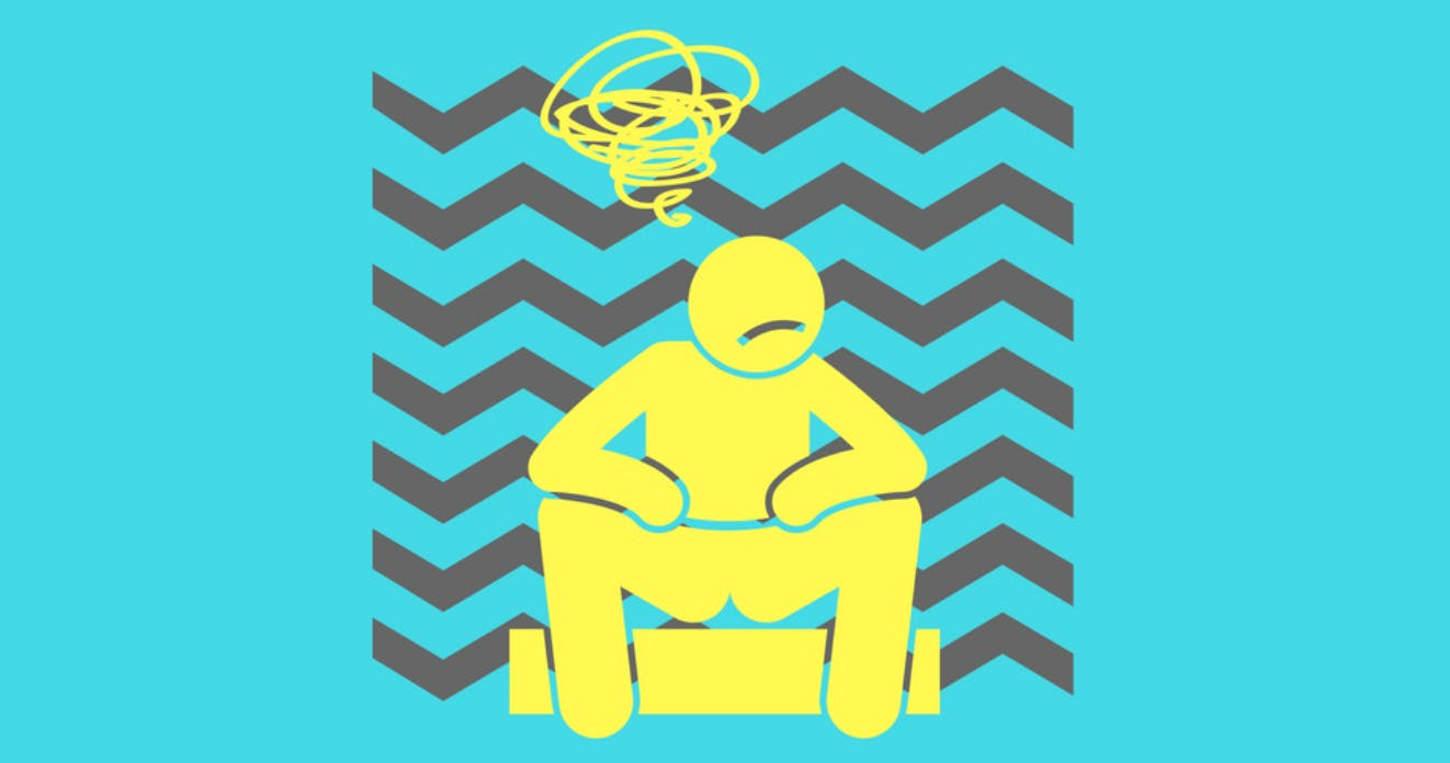 A cartoon figure of a man sitting down looking confused and frustrated