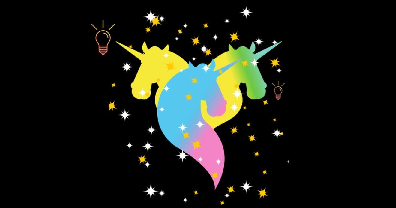 Illustration of three rainbow unicorns surrounded by sparkles on a black background.