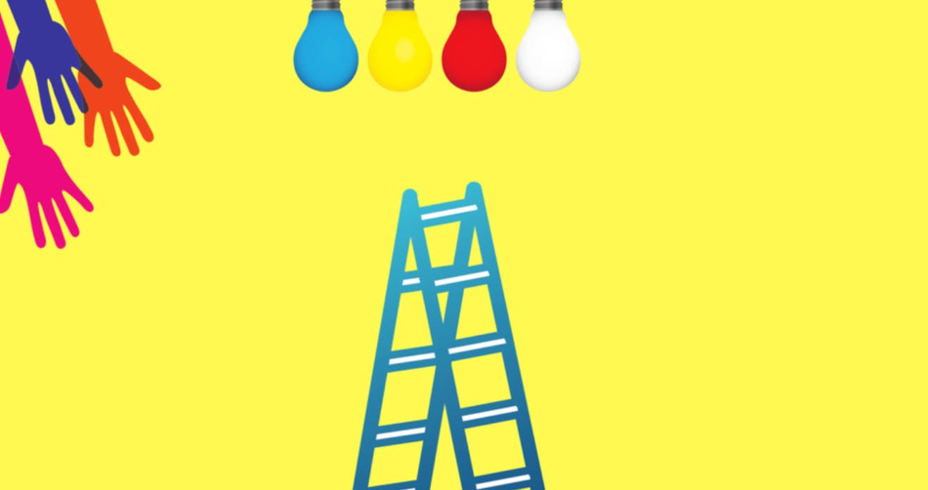 Abstract image of a blue ladder with colourful lightbulbs hanging from above and colourful hands reaching from the side.