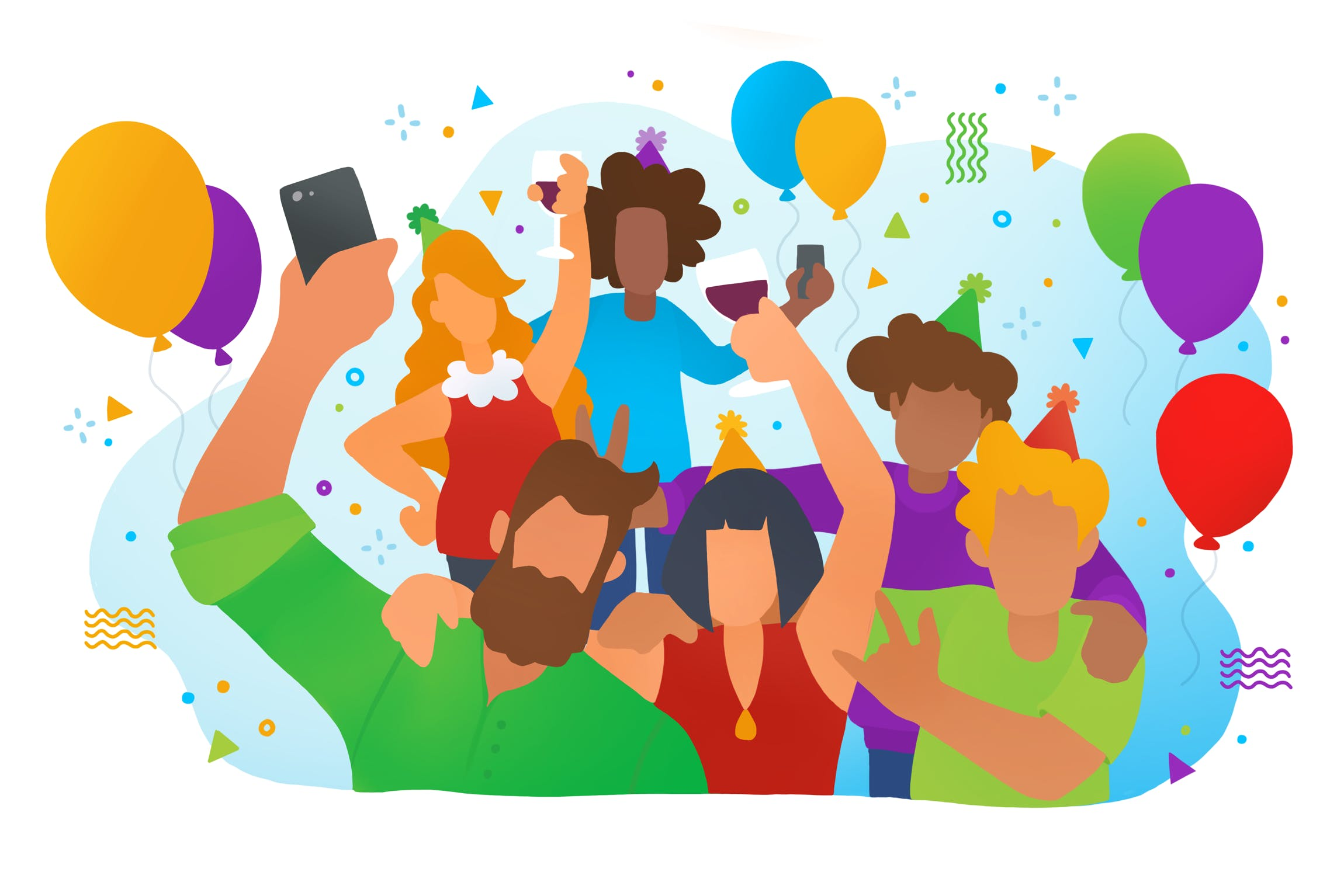 Colourful cartoon illustration of a group of people enjoying a party with drinks, balloons, and party hats.