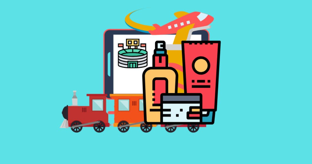 A cartoon illustration of a train pulling an iPad, an airplane, and different sized containers.
