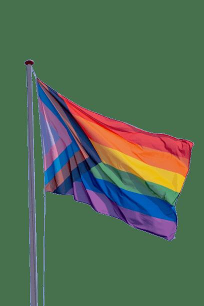 The progress pride flag waving in the wind