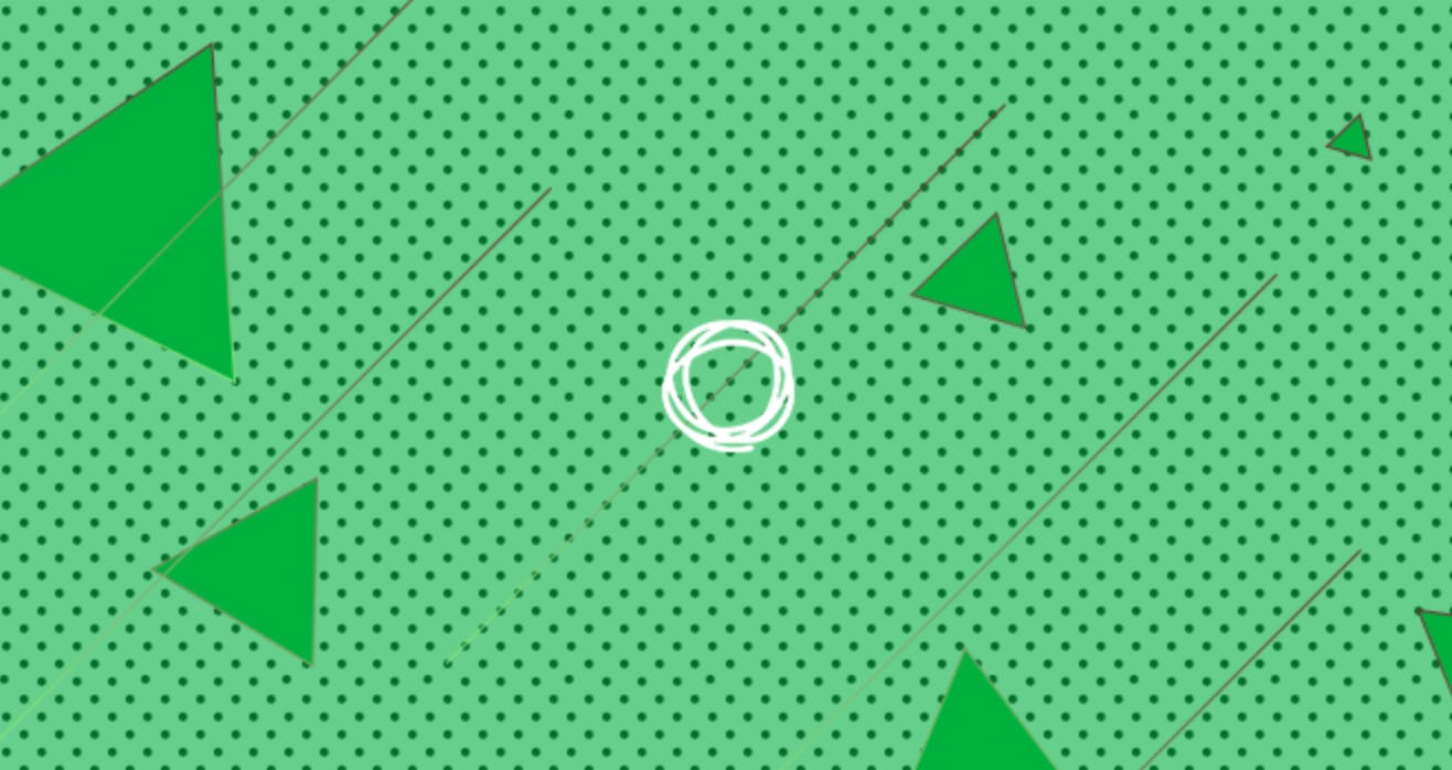 An illustration of the Chaordix logo surrounded by green triangles on a dotted background.