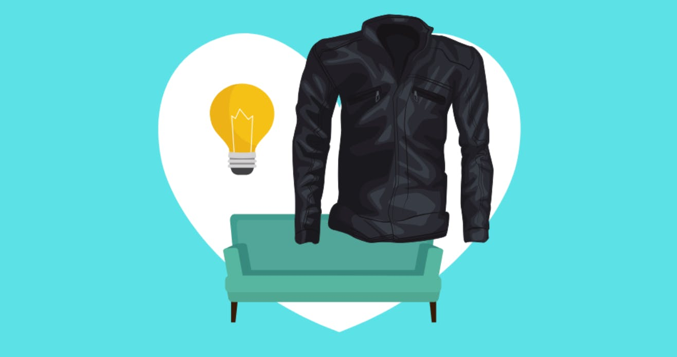 Illustration of a lightbulb and black jacket hovering over a small green sofa.