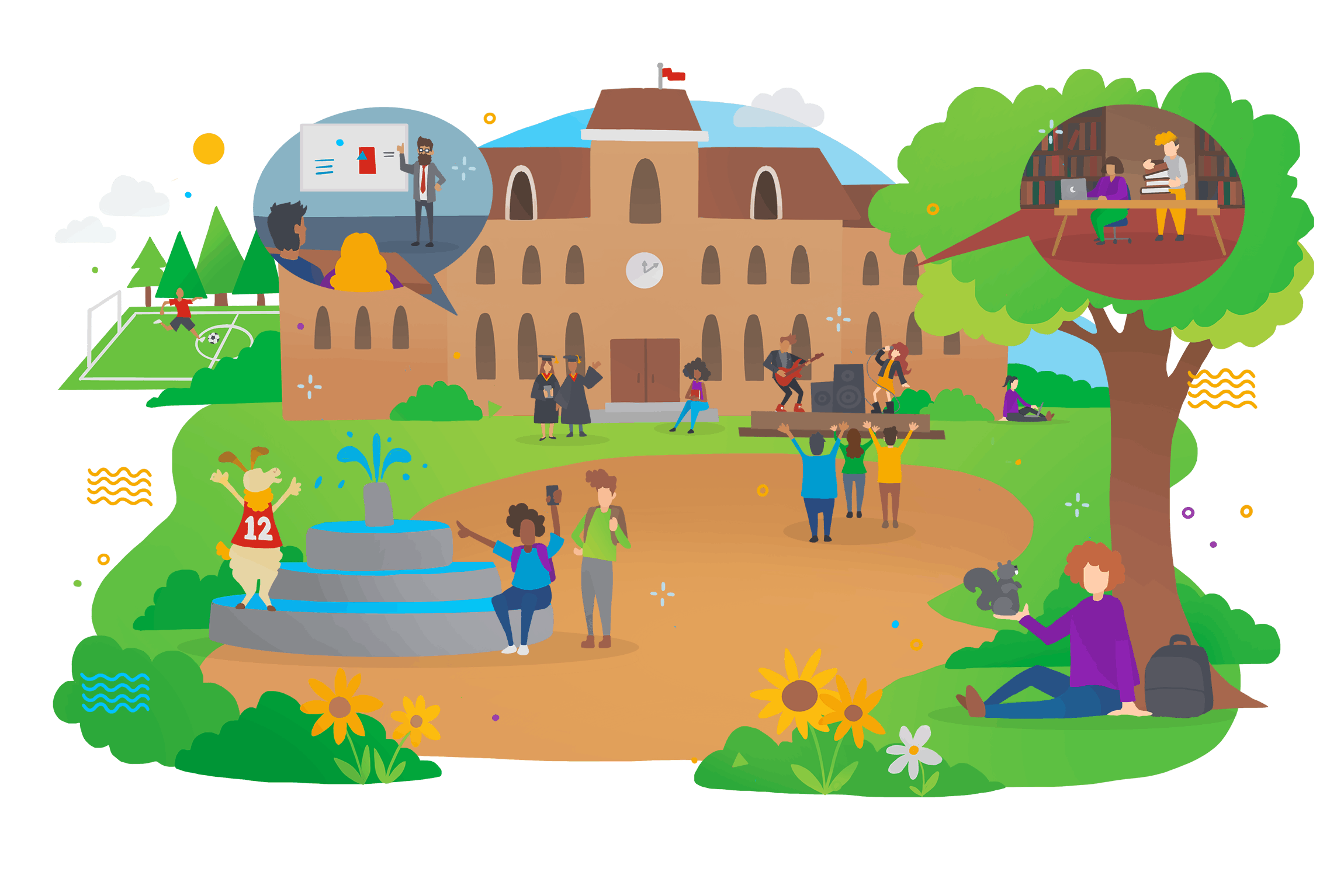 A colourful cartoon illustration of a university campus full of people and lush greenery.