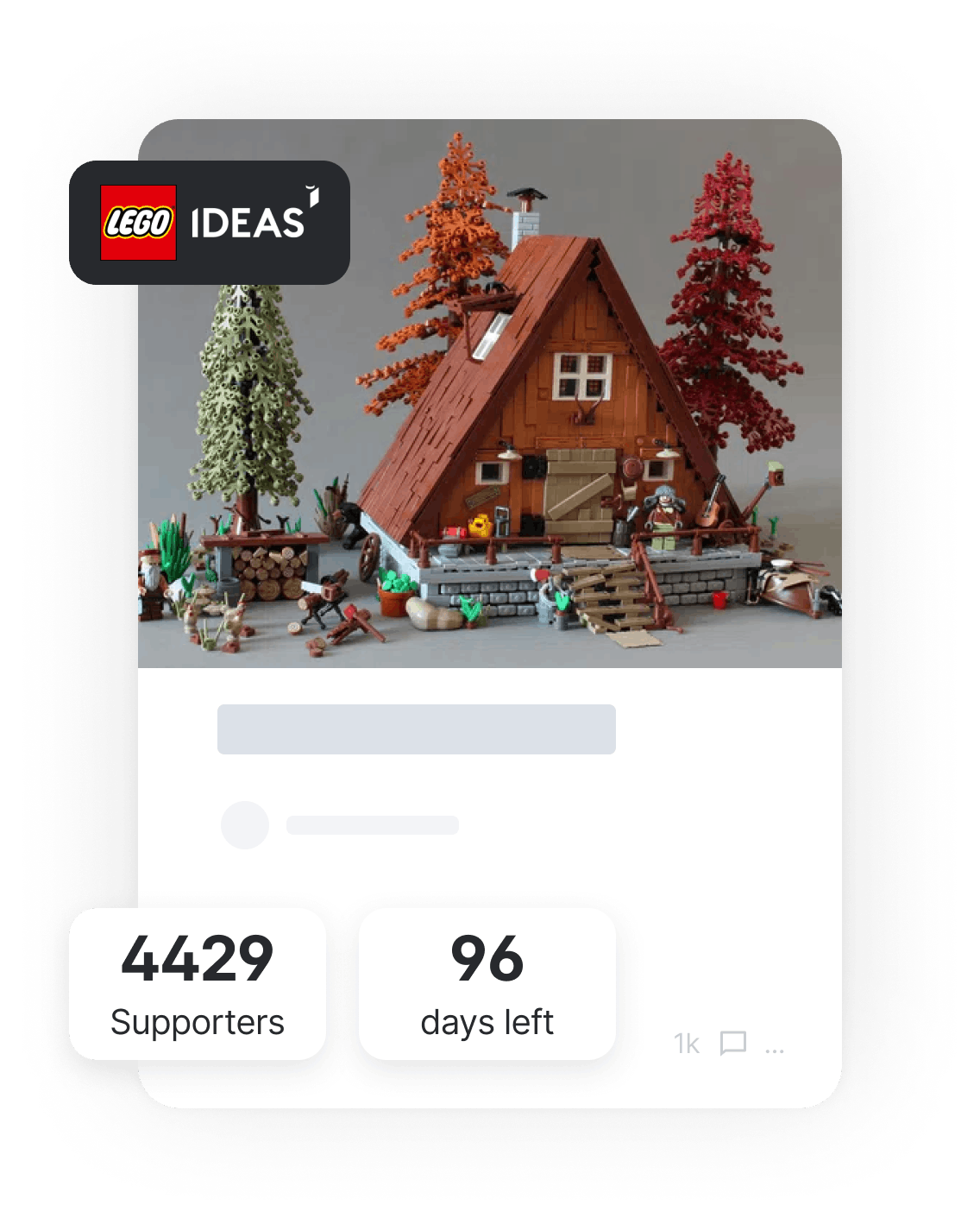 Tile for Lego with supporter count and deadline