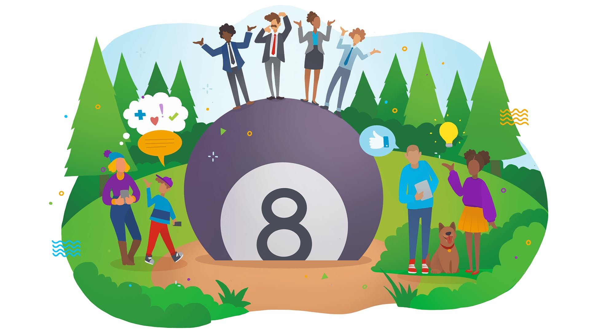 A colourful cartoon illustration of a large magic 8 ball with four people standing on top of it.