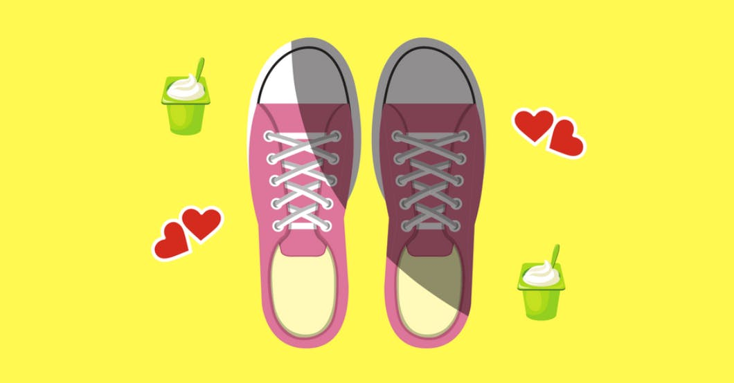 A cartoon illustration of pink converse surrounded by hearts and opened yogurt packs.