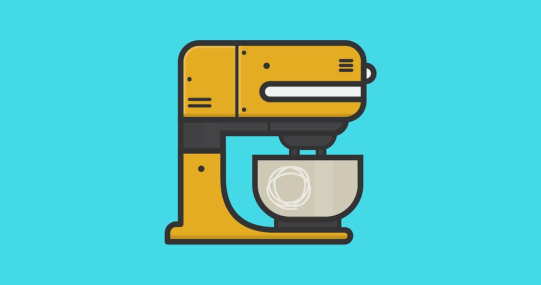Cartoon electric mixer.