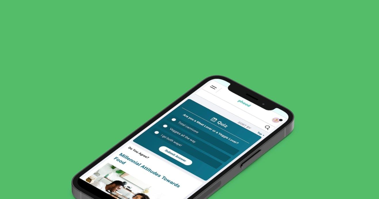 iPhone displaying a quiz on the Chaordix Community Platform.