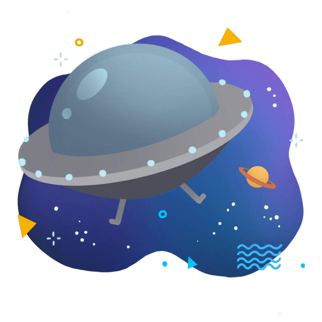 A colourful cartoon illustration of a round space ship floating in space.