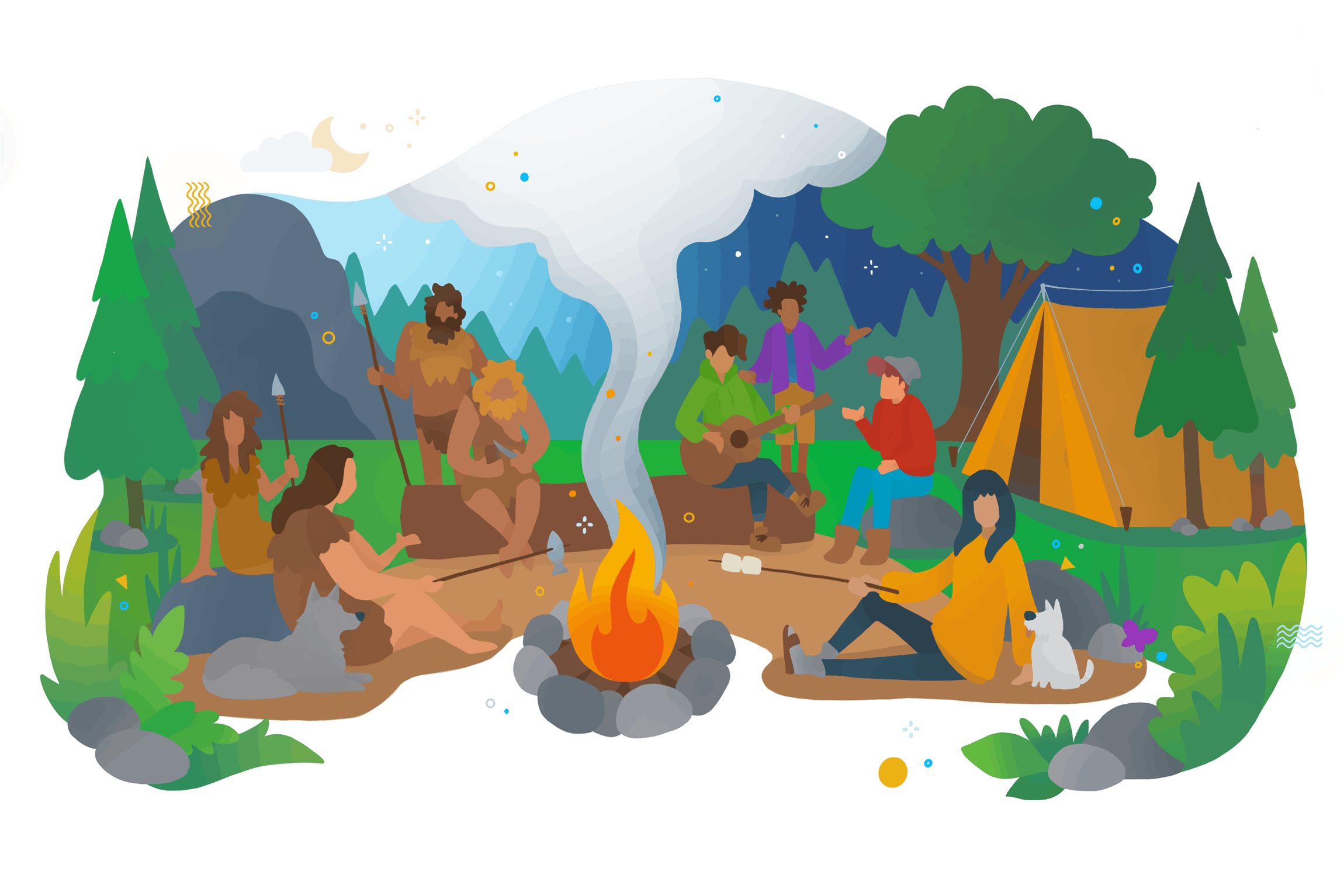 A colourful illustration of a campsite where modern people and cave man have gathered over a campfire.