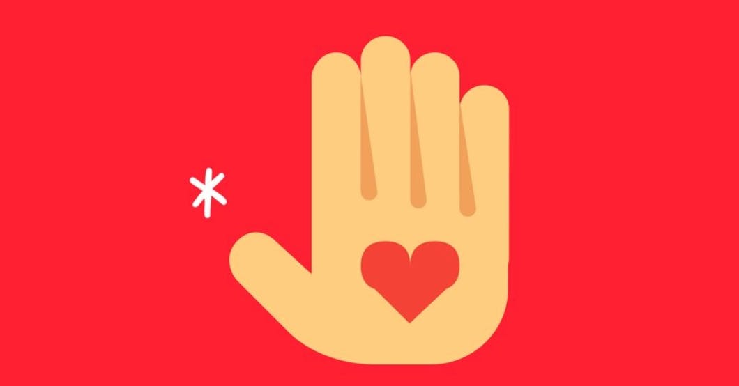 Cartoon illustration of a front-facing hand with a red heart in the centre of its palm.