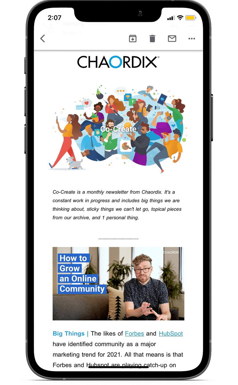 An iPhone mockup displaying a newsletter.