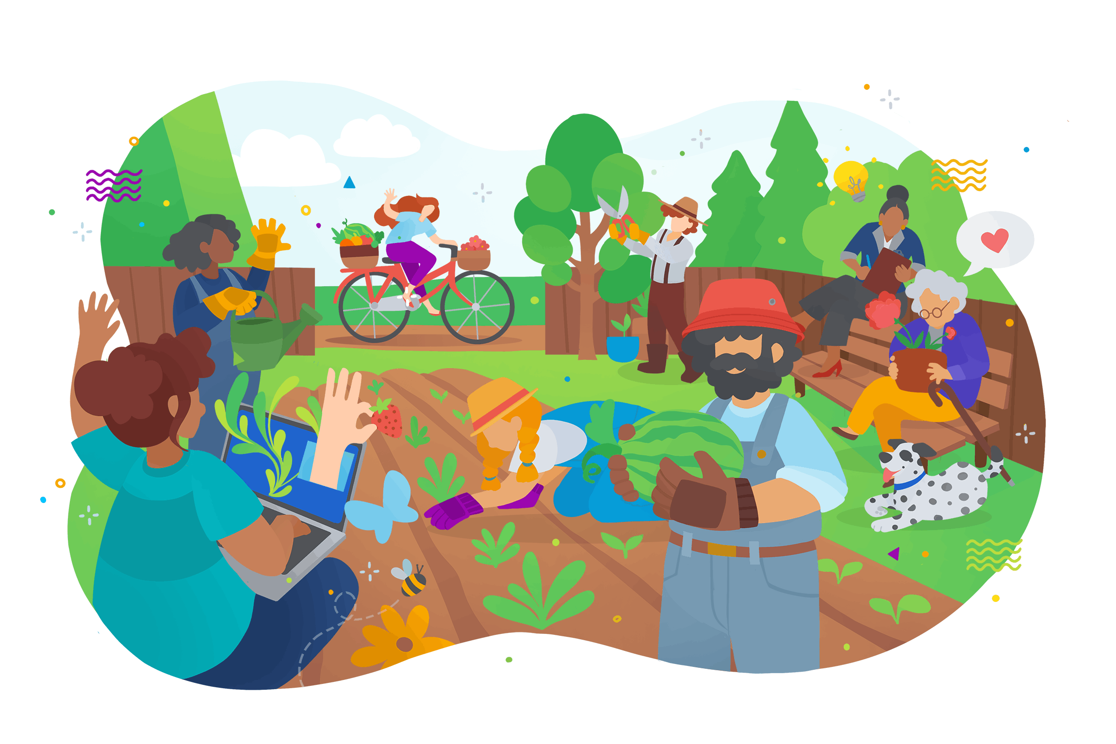 A colourful cartoon illustration of a community garden with working together.