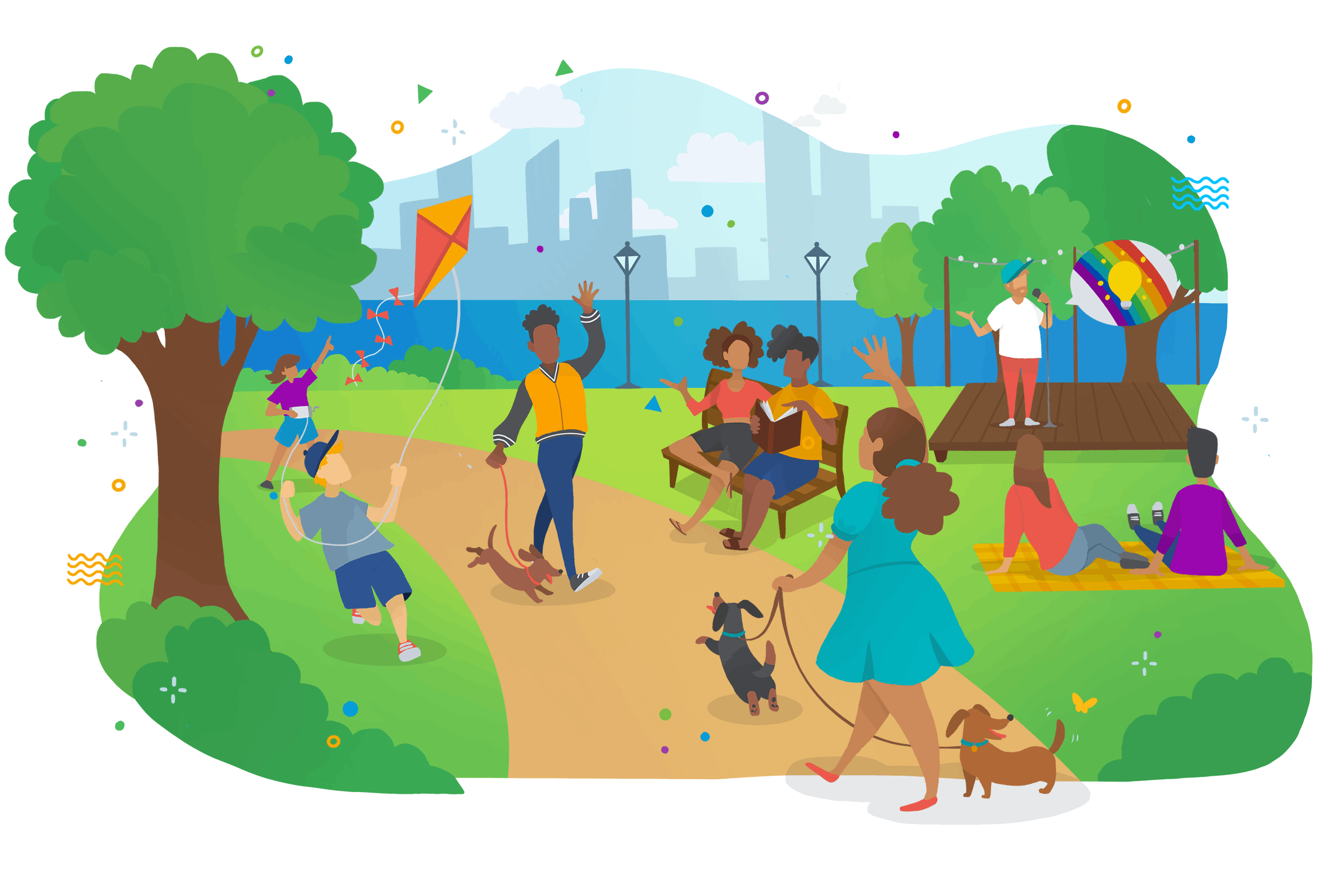 A colourful cartoon illustration of people walking through a park waving at one another, siting on picnic blankets, and flying kites.