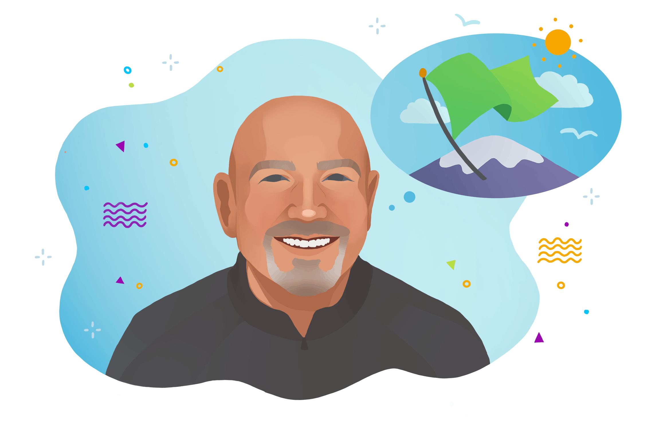 A cartoon illustration of Chaordix CEO Terry Sydoryk.