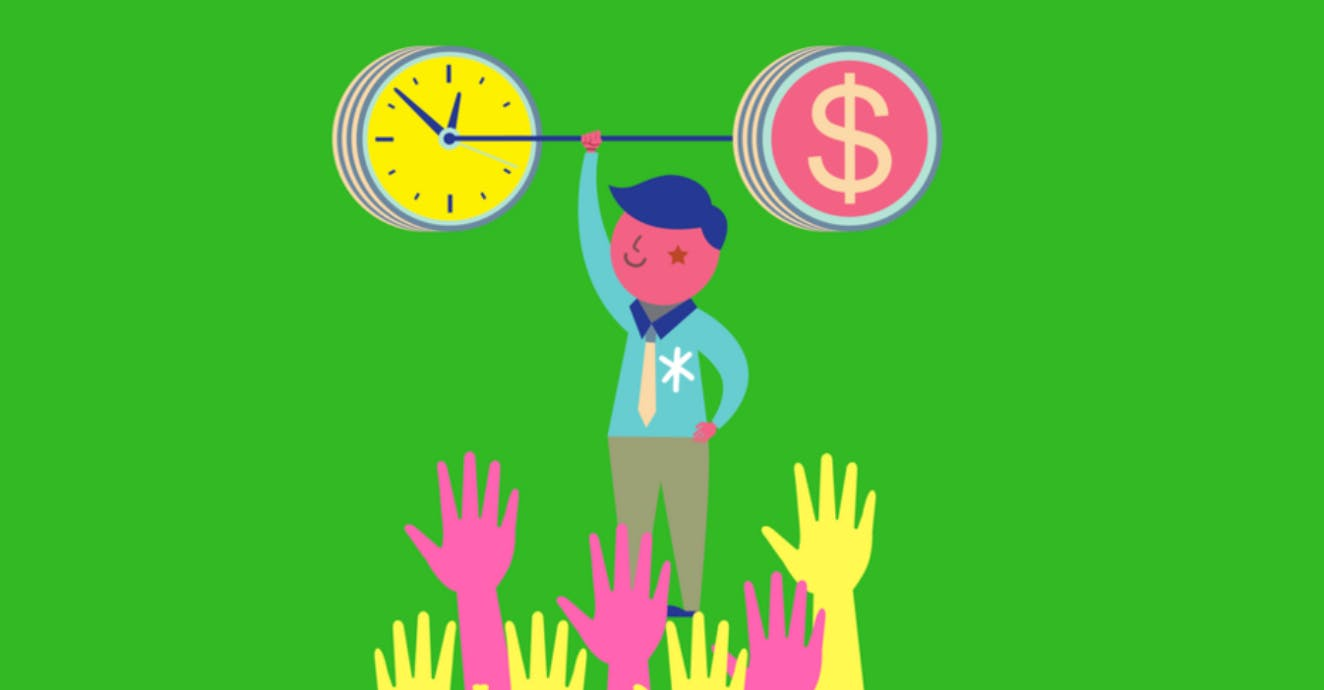 Small cartoon man holding a barbell weight with a clock and dollar sign displayed on either end.