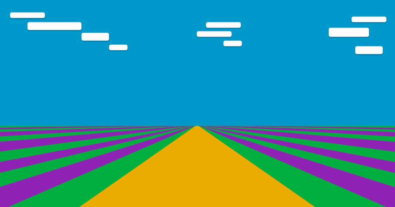 An illustration of a yellow road underneath a blue sky in between fields of green and purple stripes.