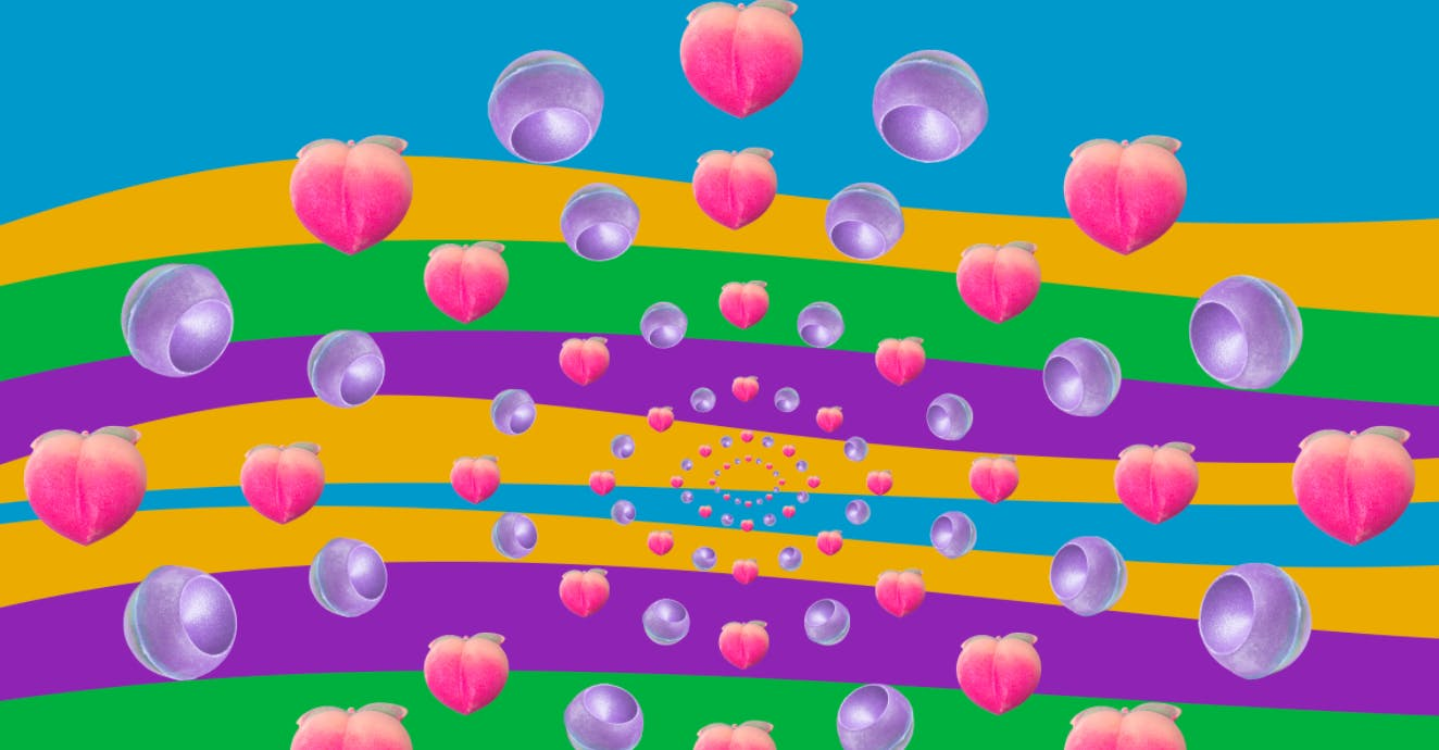 A spiral of different shaped pink and purple bath bombs overlay a colourful, striped background.