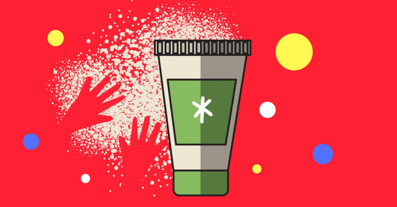 Cartoon hands reaching for a disposable cup with colourful circles around it.