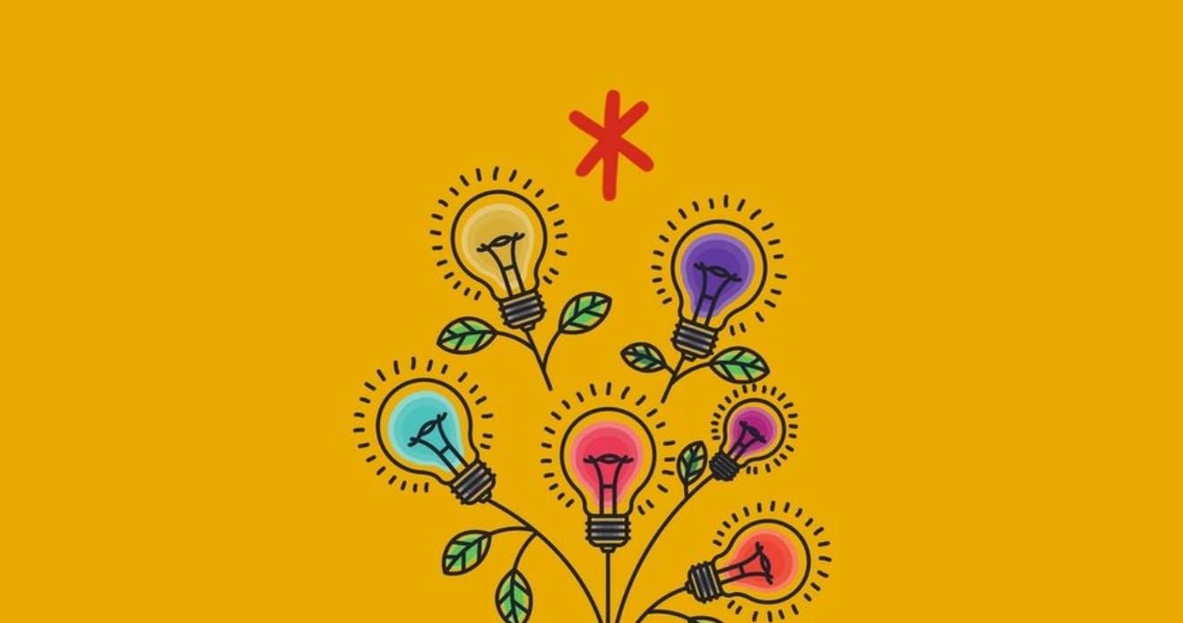 A cartoon illustration of lightbulbs blooming like flowers with leaves.
