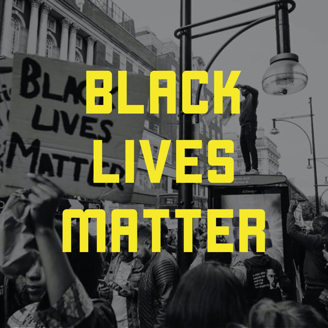 Yellow text Black Lives Matter over a black and white photo of BLM protesters