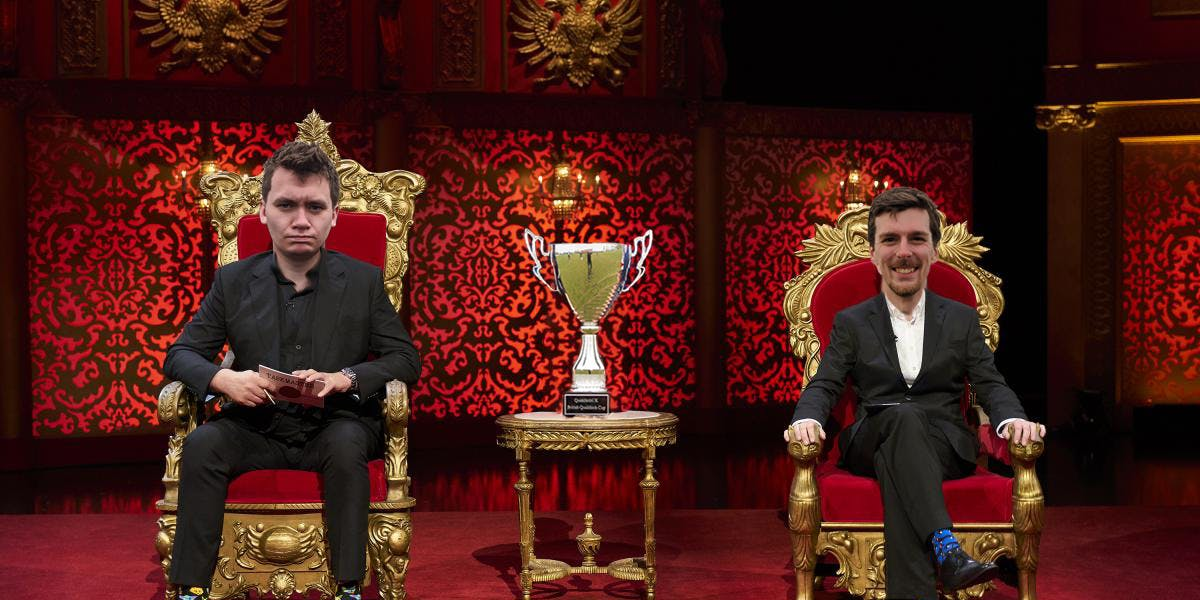 A manipulated photo of the Taskmaster set with QuidditchUK leadership in the seats