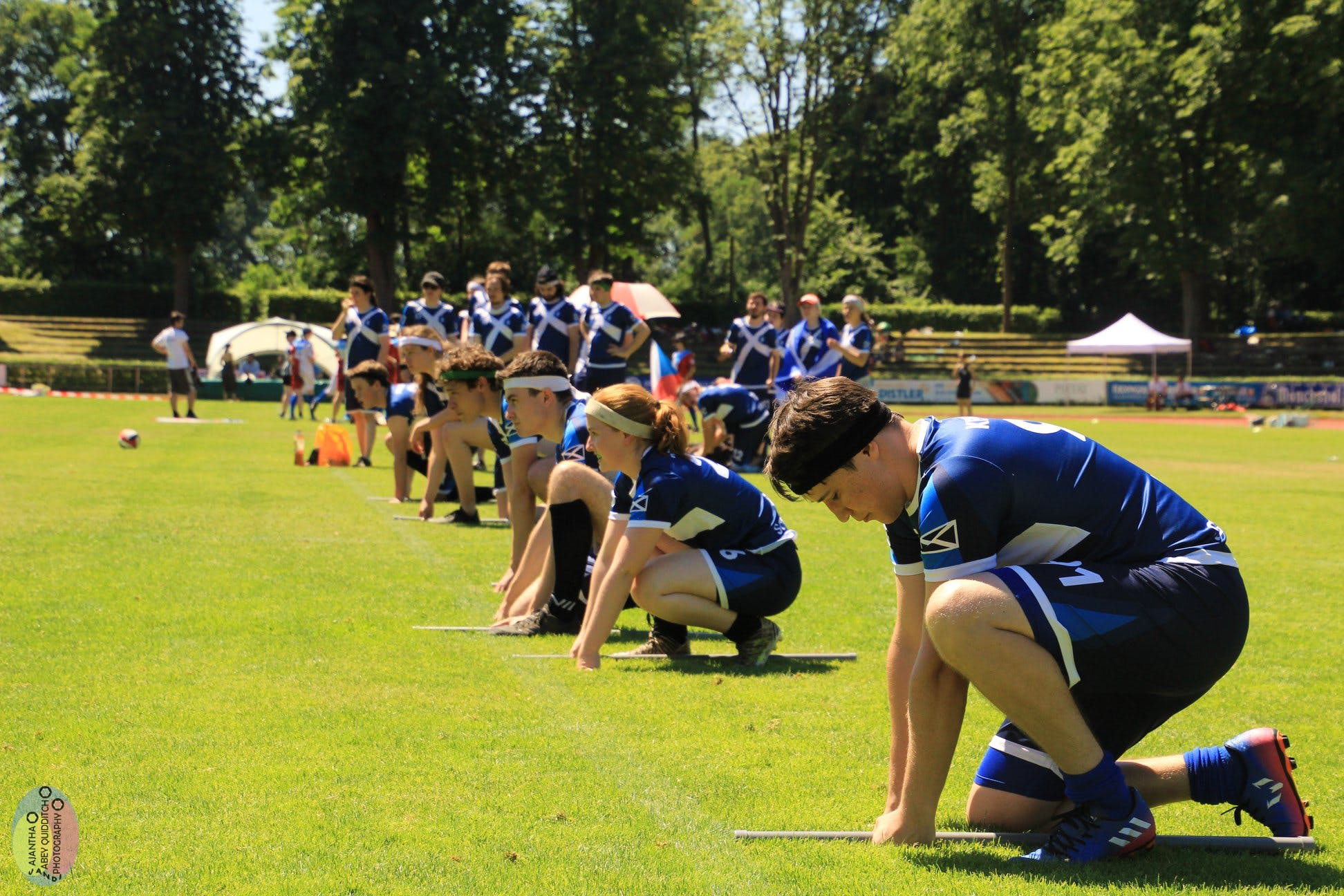 Scottish national team taking a kneel within 'brooms down' at European Games 2019 in Bamberg, Germany.