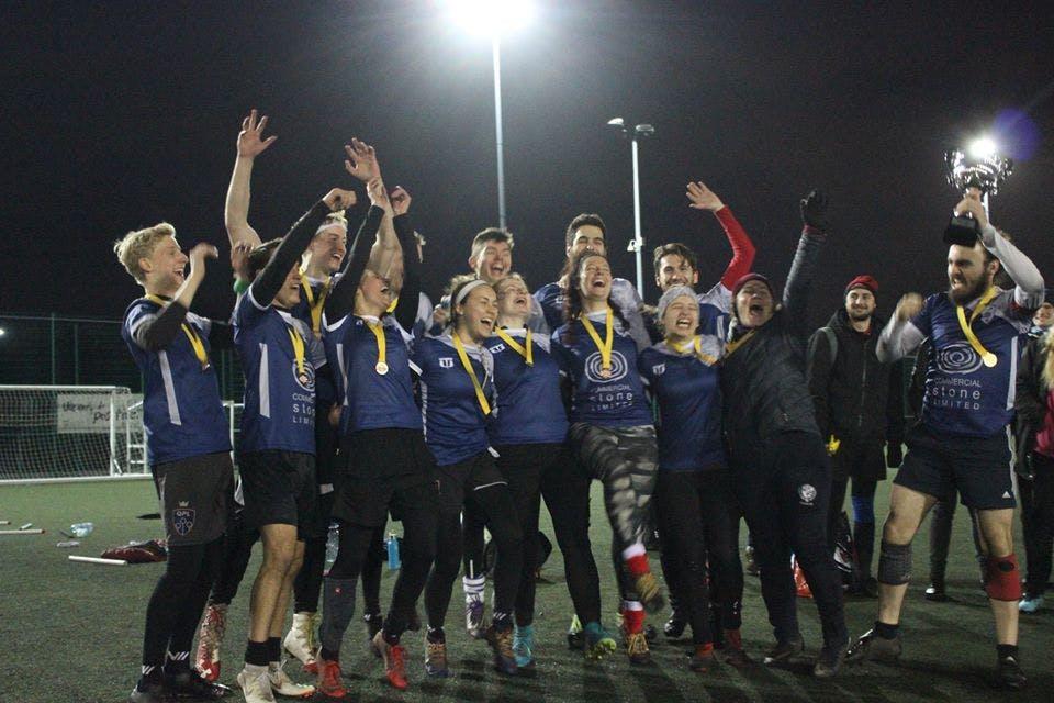 LQC A celebrate their win at EQT raising the trophy