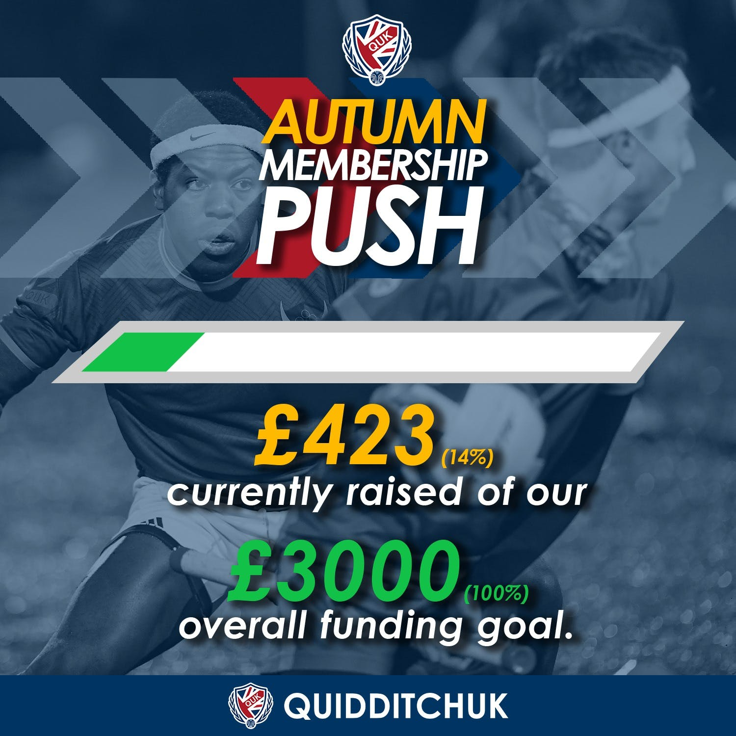 Graphic displaying the progress of the fundraiser showing 14% has been raised of QuidditchUKs target
