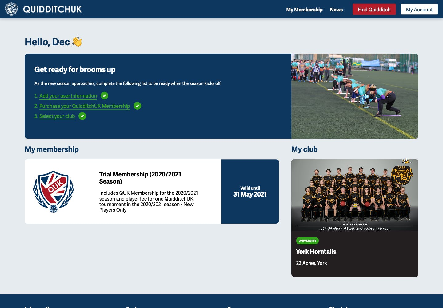Screenshot of the finished Member Dashboard on the QUK site
