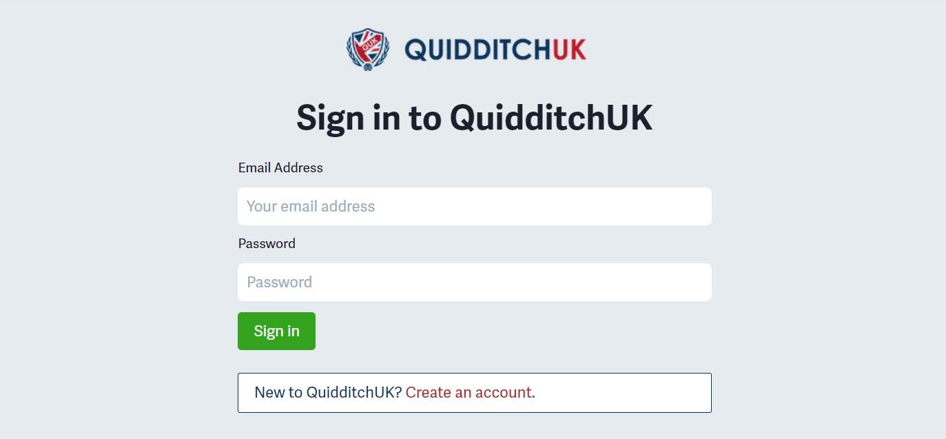 QuidditchUK Member Login