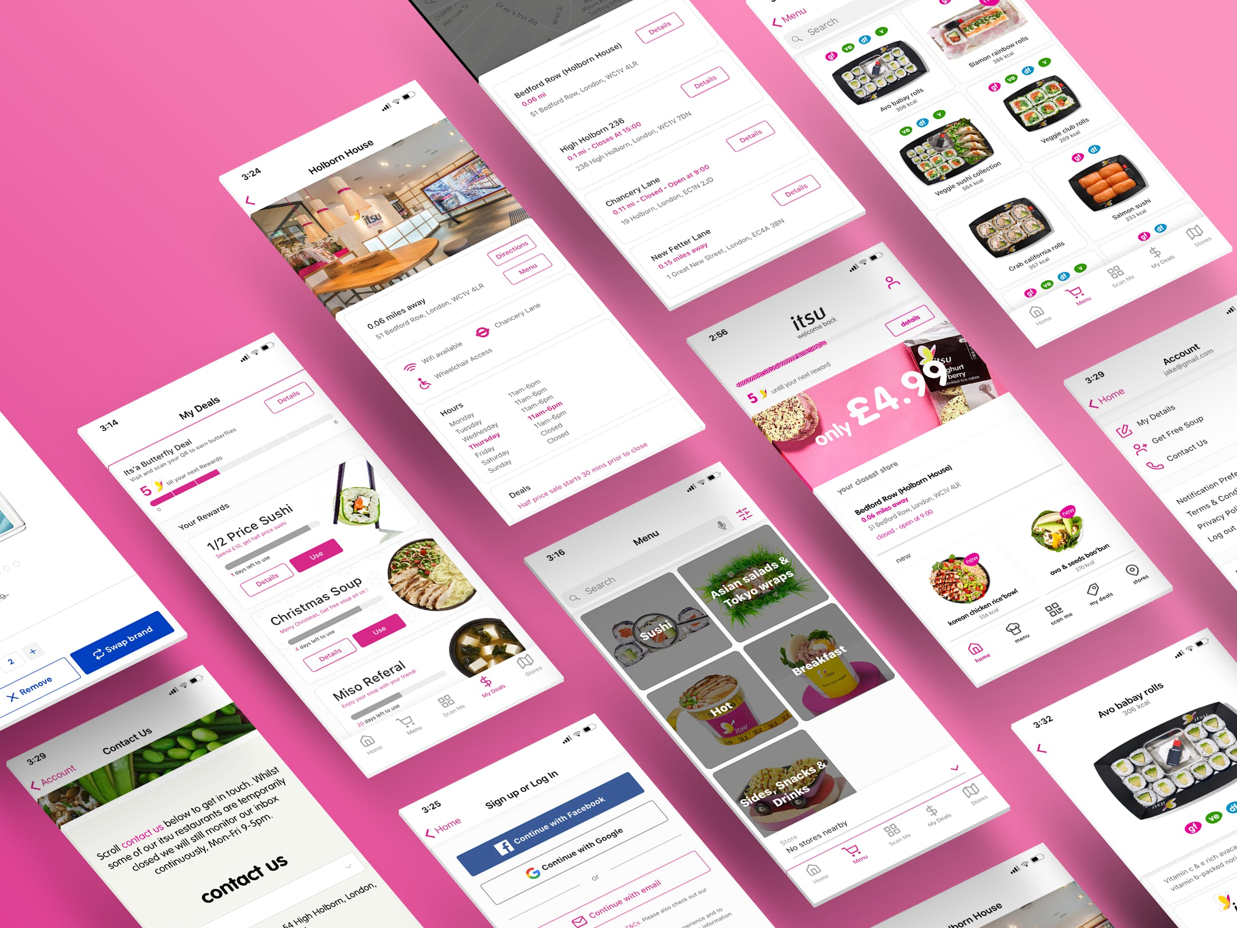 A wireframe showing some screens of our Itsu app design