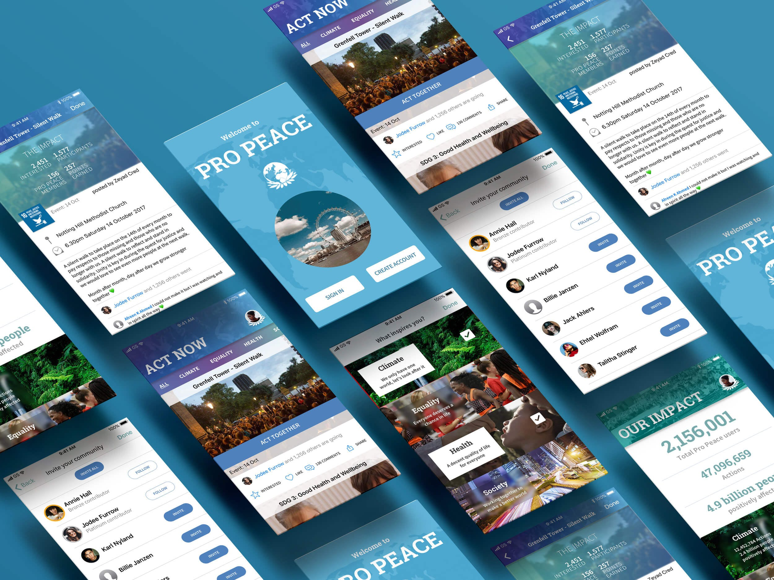 peace one day wireframe app
