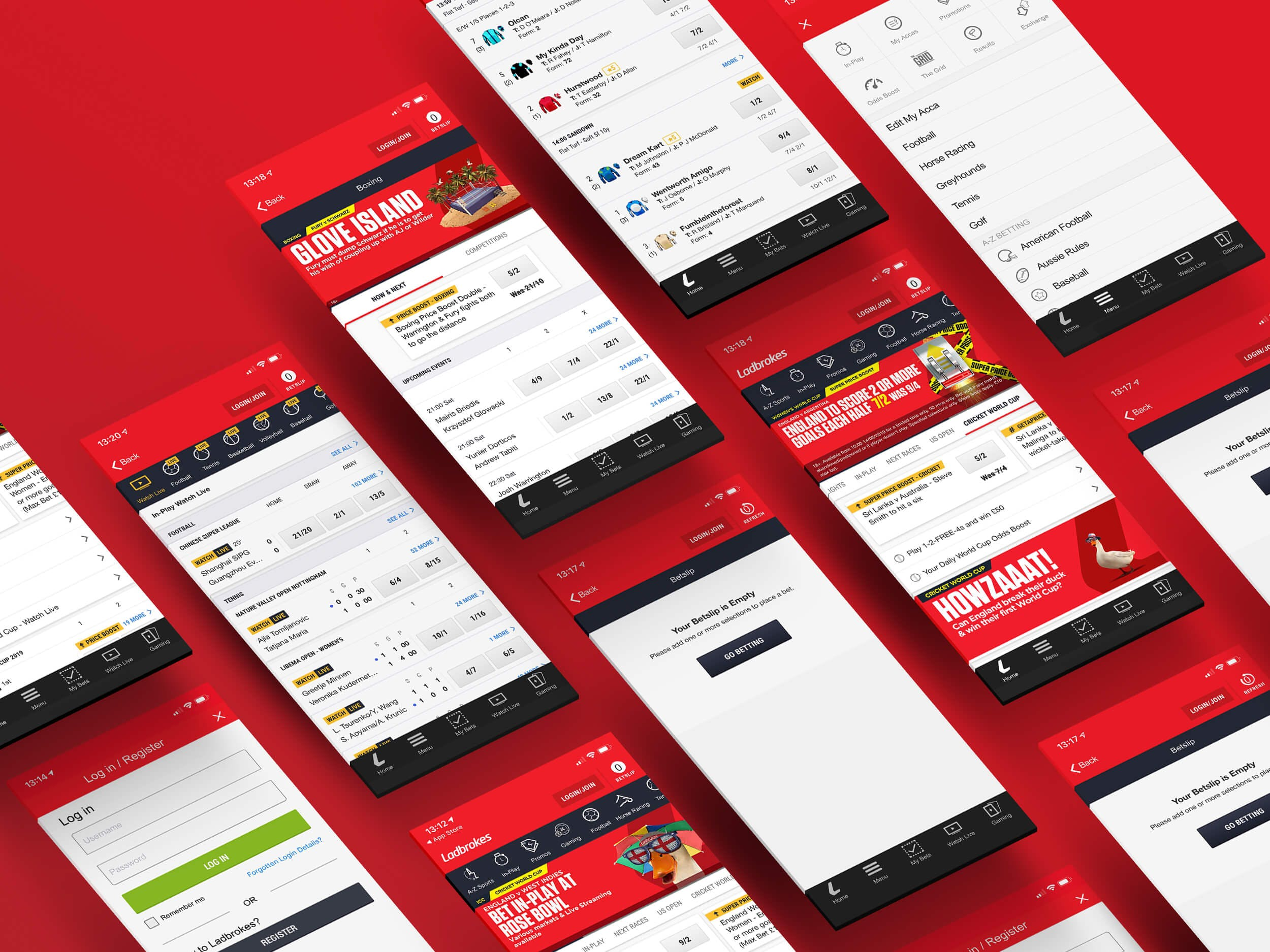 ladbrokes app wireframes and layouts