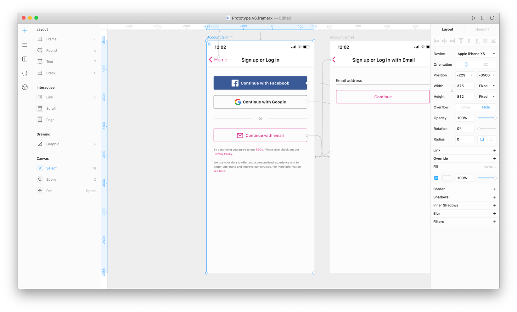 a framer x prototype being worked on