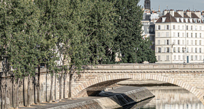 vue sous le pont de paris à côté de l'hôtel cheval blanc