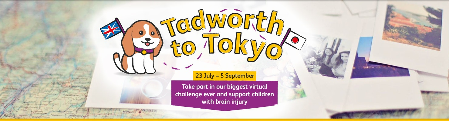 'Tadworth to Tokyo' displayed over a map with photographs next to it and an image of The Children's Trust dog next to the text. ' Thank you' text displayed under the banner