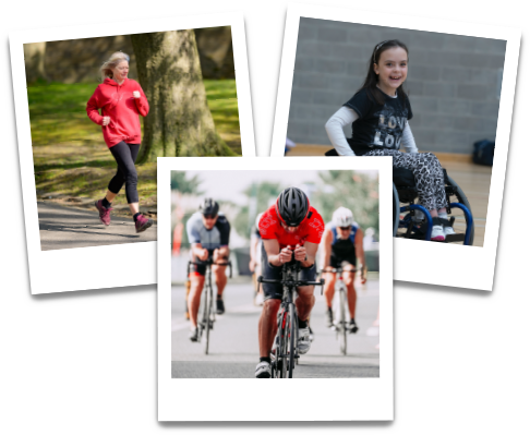 Three polaroid style photographs overlapping each other: one of a woman running outside, one of three people cycling outside and one of a young girl in a wheelchair smiling towards the camera in a sports hall.
