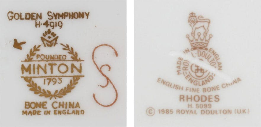 Examples of back stamp marks